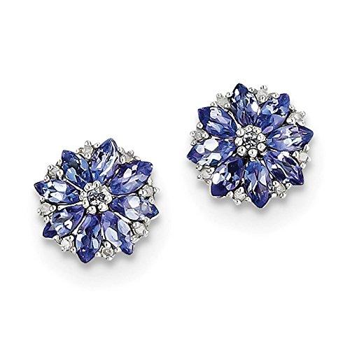 - 925 Sterling Silver Rhodium-plated Tanzanite & Diamond Flower Post Earrings