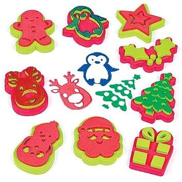 Fingerfarbe Weihnachten.Baker Ross Stempelset Weihnachten Für Kinder Zum Gestalten Von Karten Collagen Und Für Andere Bastelarbeiten 10 Stück
