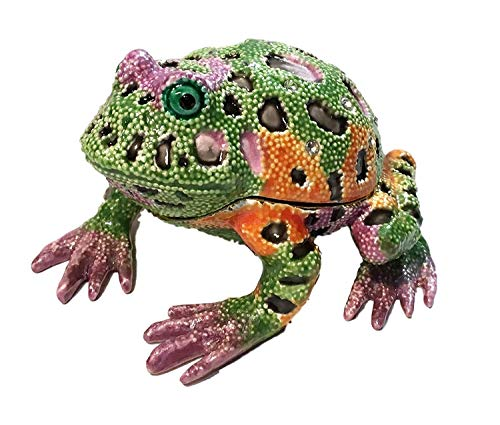 Kalifano Jeweled Enameled Colorful Frog Trinket Box Crystals ()
