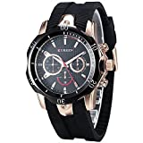 CURREN Men's Black Rubber Strap Golden Sports Concise Style Leisure Quartz Wrist Watch (Fake Small Dial)