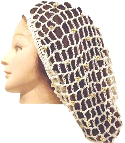 Hand Crocheted Ivory Rayon Cotton Gimp Large Snood with Gold Beads ()