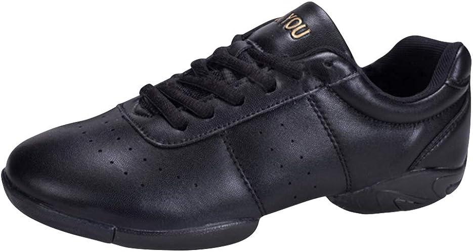 Huatime Sport Schuhe Tanzschuhe Damen Leder Lace Up Laufschuhe Gymnastik Training Schuh Modern Turnschuh Sneakers Fitness Cheerleader Gym Freizeit