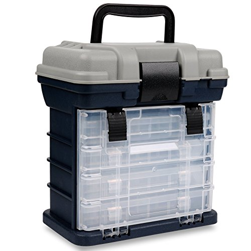 Sougayilang Fishing Tackle Box Portable 4 Layers Fishing Box Sea Boat Fishing Accessory Box Case with Handle Utility Box-Small ()