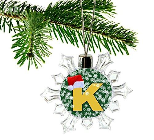 letter k christmas alphabet initial santa hat snowflake ornament bauble