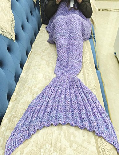 "SMELOV Mermaid Tail Blanket and Handmade Crochet Sleeping Blanket,Super Soft All Seasons Sleeping Bags,Best Birthday Gift for Adult Kids,71"" X 35.5"",F…"