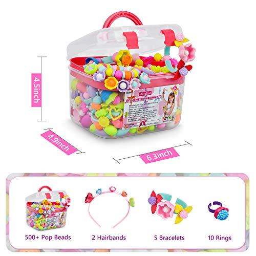 Pop Beads – 550+Pcs DIY Jewelry Making Kit for Toddlers 3, 4, 5, 6, 7 ,8 Year Old, Kids Pop Snap Beads Set to Make…