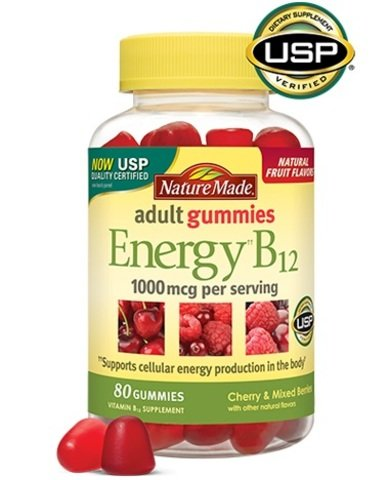 Nature Made Energy B-12 Adult Gummies Cherry & Wild Berries -- SuperValue Pack of 550 Gummies Total,1000 mcg by Nature Made