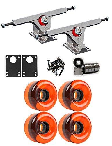 Caliber Raw Longboard Trucksホイールパッケージ65 mm x 44 mm 83 a 151 Cオレンジクリア [並行輸入品]   B078WW4MMG