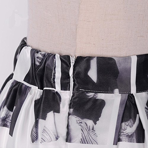 Joligel 1950 Annata a Pieghe Gonne Stampate Marilyn Monroe Gonne Modello Full Swing Circle Gonne Estate Donna Midi Eleganti, vita alta, con fodera, cerniera laterale visibile, taglia unica