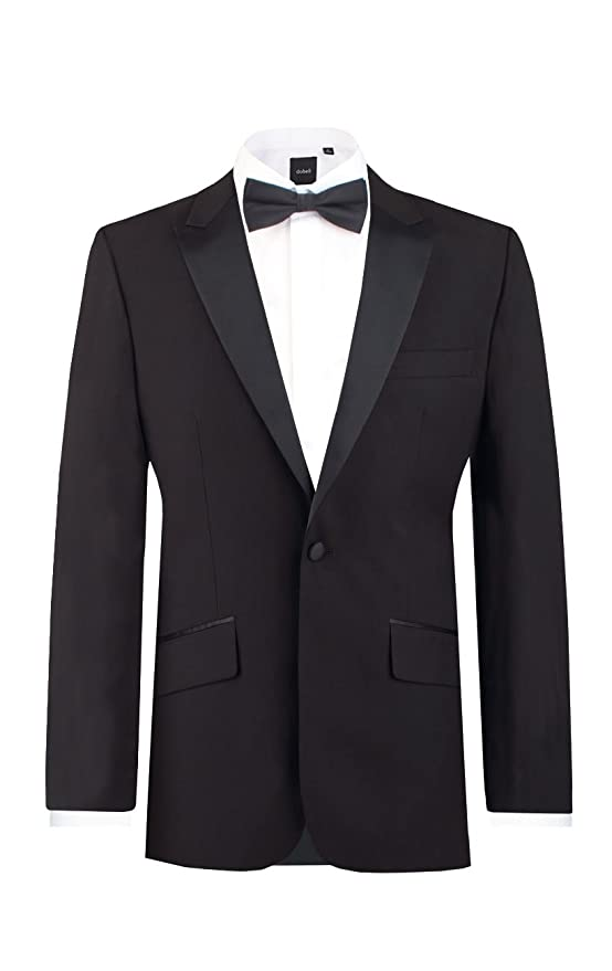 1940s Men's Formalwear Dobell Mens Black Tuxedo Dinner Jacket Slim Fit Peak Lapel $59.95 AT vintagedancer.com