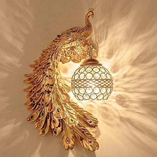 Wall Lamp Wall Light European Bedroom Bedside Wall Lamp Three-Dimensional Resin Carving Long Tail Peacock Wall Lamp Crystal Glass Lampshade Wall Lamp Wall Light (Color : B)