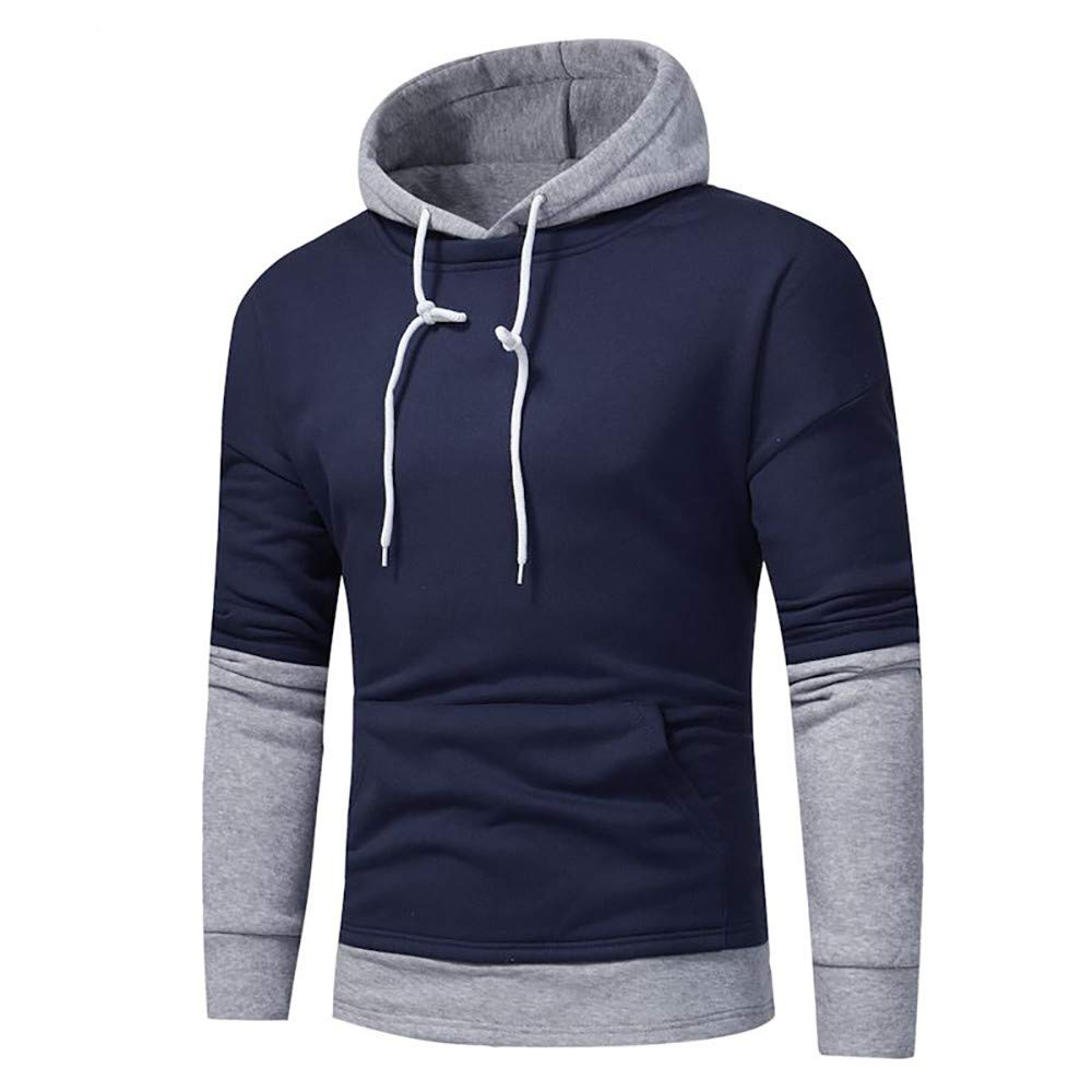Corriee Fashion Tops for Men Autumn Classic Long Sleeve Patchwork Warm Hoodies Mens Casual O-Neck Hooded Sweatshirts