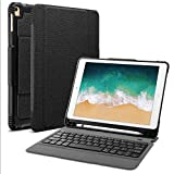 """OMOTON Detachable Keyboard Case for New iPad 9.7"""" 2018&2017, iPad Pro 9.7, iPad Air/Air 2, Ultra-thin Bluetooth Keyboard Case with Built-in Stand and Pencil Holder, Lightweight, Black"""