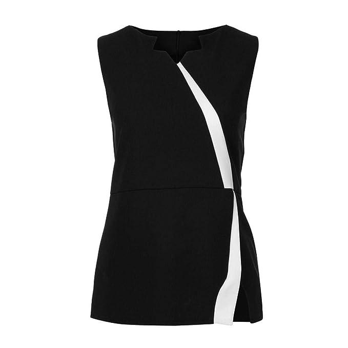 e2194318f702 Howley 2018 Fashion Women Sleeveless Patchwork Sleeveless Zipper Back  Blouse Tank Tops (Black, S