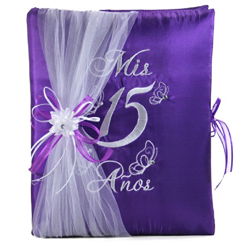 Butterfly Quinceanera Choose from Photo Album Guest Book Kneeling Tiara Pillow Bible Q3086 (Guest Book)