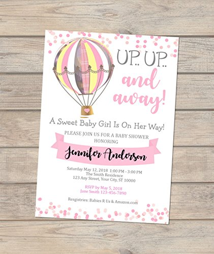 Amazoncom Pink Hot Air Balloon Baby Shower Invitations Girl Baby