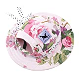 Pet Dog Hat for Small Dogs Canvas Sun Protective Visors Round Brim Princess Cap Sun-shading Cap with Ear Holes for Pet Dog Doggy Puppy - Small Size / Flower