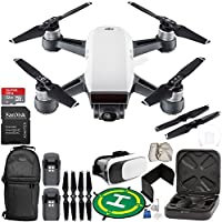 DJI Spark Portable Mini Drone Quadcopter (Alpine White) + EVERYTHING YOU NEED Essential Bundle