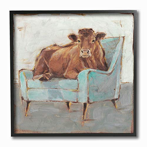 The Stupell Home Decor Brown Bull on a Blue Couch Neutral Color Painting Framed Giclee Texturized Art, 12 x 12, Multi (Framed Wood Couch)