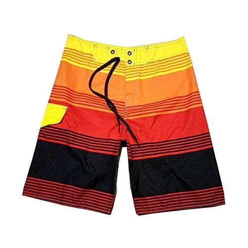 Baymate Boardshorts Mit Streifen Badeshorts Multi-Color Surf-Shorts Für Herren Rot 30