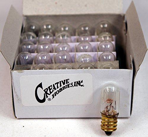 Creative Hobbies 15811 Miniature Tubular Night Light Bulbs, 4 Watt, 1000 Hour Life, 120 volt, E12 Candelabra Base, Wholesale Box of 25 - Store Village Hours U