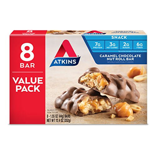 Atkins Snack Bar, Caramel Chocolate Nut Roll, Keto Friendly, 8 Count (Value Pack)