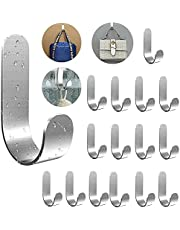 Adhesive Hooks Hat Hooks 16 Pack, Heavy Duty Self Adhesive Hooks Easy to Install, Wall Hooks for Hanging Towels, Baseball caps