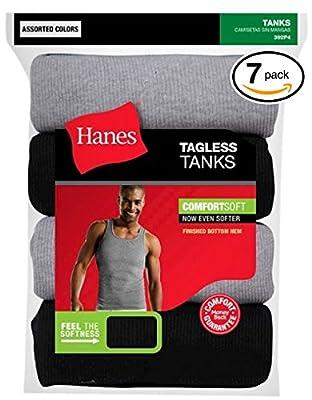 byHanes Hanes Classics Men's Classics 7-Pack A-Shirt Value Pack (Black & Grey, X-Large)