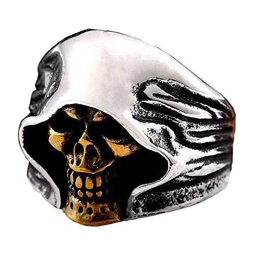 ZMY Mens Fashion Jewelry Rings, Stainless Steel Gold Face Grim Reaper Skull Ring for Men (12)