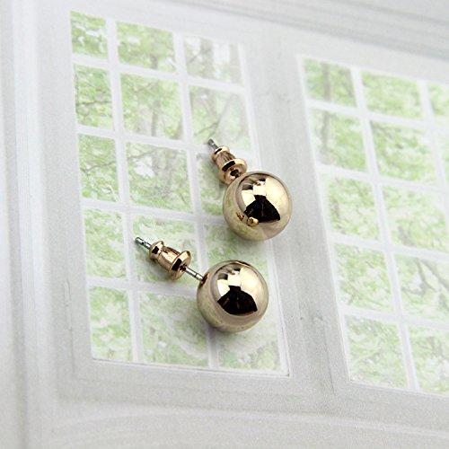 (Women Gift White Geometric Sweet Personality 18k Gold Plated Earrings earings Dangler Eardrop Ear peas Dazzling Jewelry)