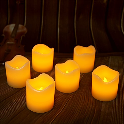 【Real Wax 6H Timer】Flickering Real Wax Flameless Tealights Candles Battery Operated Votive Candles Tea Lights 6 Pack Amber Yellow Flame(Dia. 2