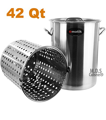 Pot Stainless Steel 42 Quart with Strainer Basket StockPot C