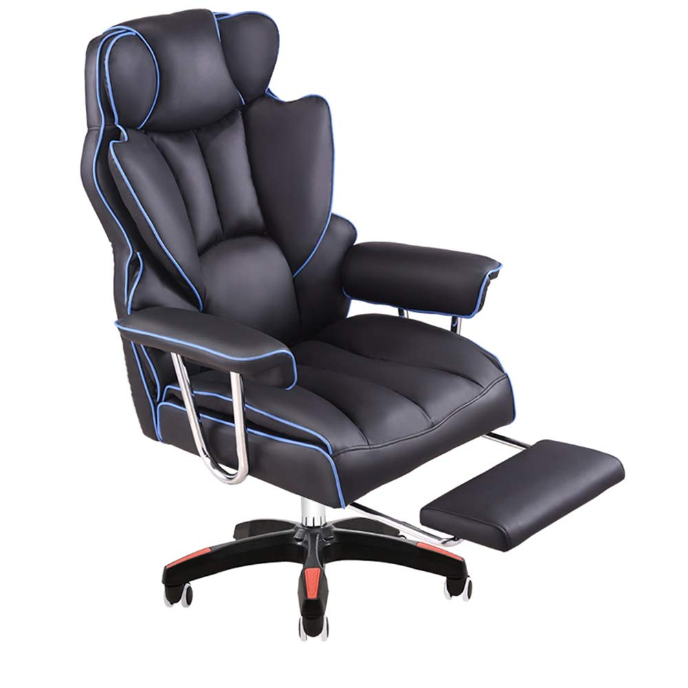 G/j/f Ergonomic Office Chair Office Furniture with Footrest Computer Chair Ecological PU Leather Adjustable Office Manager Rotating Recliner with Footrest (Color : Blue) by G/j/f