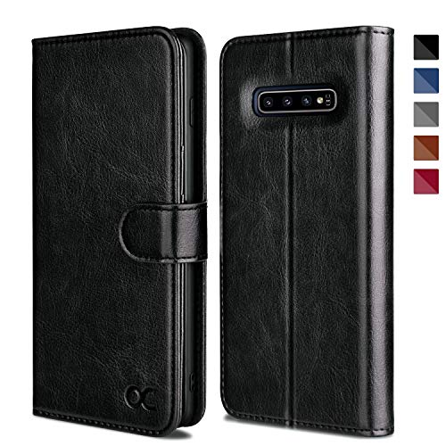OCASE Samsung Galaxy S10 Case [ Card Slot ] [ Kickstand ] [TPU Shockproof Interior ] Leather Flip Wallet Case for Samsung Galaxy S10 Devices (Black)