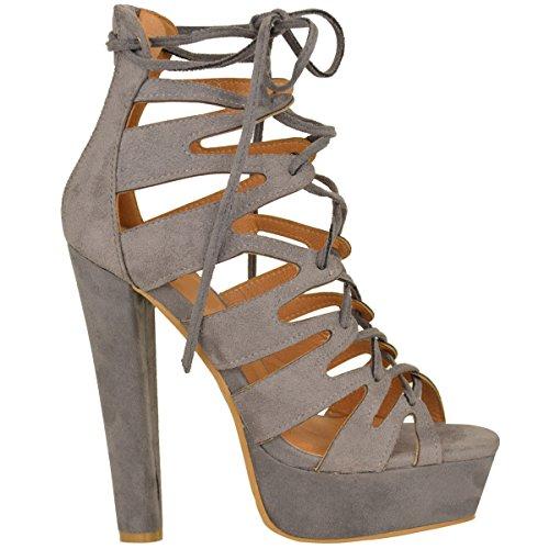 High Damen Heel Faux Schnüren Sandalen Neue Größe Durstig Schuhe Plattform Grau Gladiator Mode Ankle Wildleder Damen fqgUnT