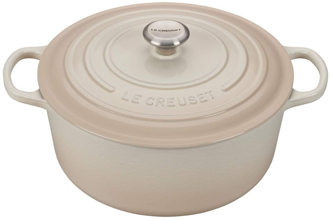 Le Creuset 9-Quart Signature Round Dutch Oven Stainless Steel Knob, Meringue