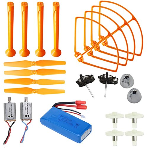 AVAWO Upgraded Spare Parts for Syma X8C X8W X8G Venture Full Spare Parts Kit Crash Pack (Main Blade Propellers & Motor & Propeller Protectors Blades Frame & Landing Skid & Battery & Gear - Orange