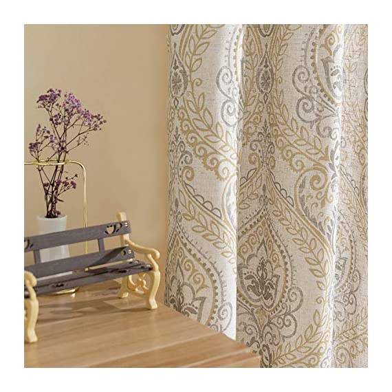 """jinchan Damask Printed Curtains for Bedroom Drapes Vintage Linen Blend Medallion Curtain Panels Window Treatments for Living Room Patio Door 1 Pair 84"""" Yellow - Package includes 2 Damask Printed Light Filtering Curtains. Each measures 50""""width by 84"""" length. Available in six colors. Flaunting a large damask print in vivid colors, this beautiful panel pair creates a striking contrast, for a stylish and eye-catching look. Fabric reduce up to 50% of sunlight, letting you enjoy a serene and comfortable internal environment during any time. - living-room-soft-furnishings, living-room, draperies-curtains-shades - 51eENKo2jeL. SS570  -"""