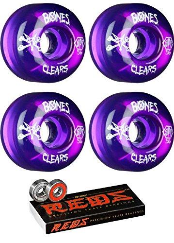 56mm Bones Wheels SPF Clear Wheels with Bones Bearings - 8mm Bones REDS Precision Skate Rated Bearings - Bundle of 2 items