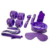 Adult Sex Toys BDSM Restraints Purple Bondage Kits Sex Collar and Leash, Blindfold, Mouth Gag, Hand & Ankle Cuffs, Rope, Whip