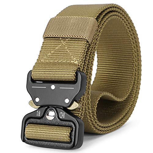 Mens Tactical Belt Heavy Duty Webbing, Military Style Army Nylon Web Belt 1.5 inch with Quick-Release Buckle (Belt Release Buckle Web Quick)