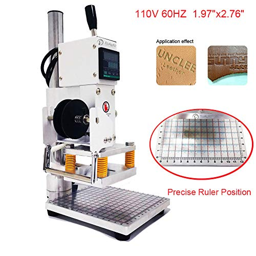 Hot Foil Stamping Machines - Upgraded Hot Foil Stamping Machine 5x7cm 110V with Full Scale on The Base Plate for PVC Leather PU Paper Logo Embossing 1.97