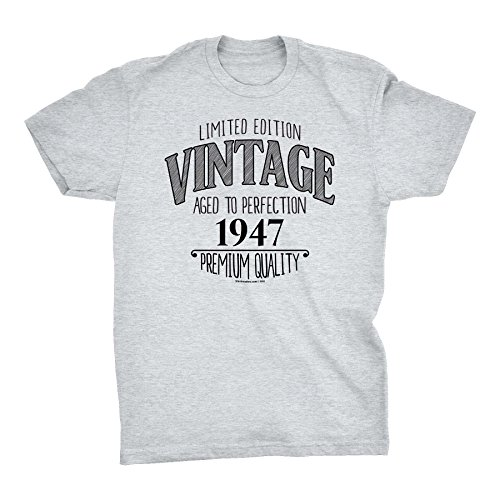 - 71st Birthday Gift Shirt - Scribble - Vintage 1947 Aged to Perfection - Ash