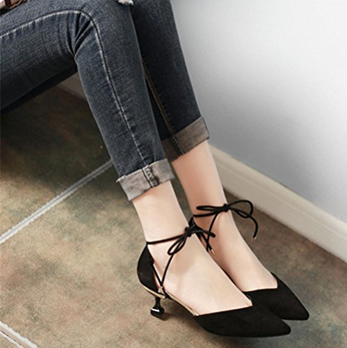 Noir Stiletto Court De Ruiren Mariage Bretelles Haute Talons Bal Mariée Bout Chaussures Pointu Femmes q1OnWOYt