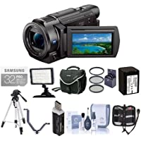 Sony FDR-AX33 4K Ultra HD Handycam Camcorder - Bundle with Video Bag, 32GB Class 10 SDHC Card, Video Light, Spare Battery, Tripod, 52mm Filter Kit, Cleaning Kit, Card Reader, Memory Wallet, V-Bracket