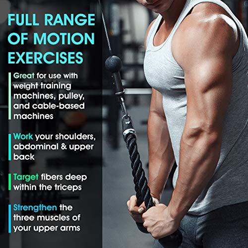 Yes4All Combo Rotating Straight Bar and Tricep Rope Cable Attachment/Tricep Pull Down Rope – Cable Bar for Strength Training by Yes4All (Image #4)