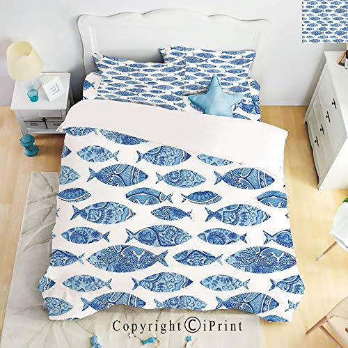 Homenon Classic Sheets 4 Piece Bed Sheet Set,Fish Figures with Ancient Ottoman Ornate Mosaic Hand Drawn Marine Artwork,Blue,Twin Size,Softest Bed Sheets and Pillow Cases