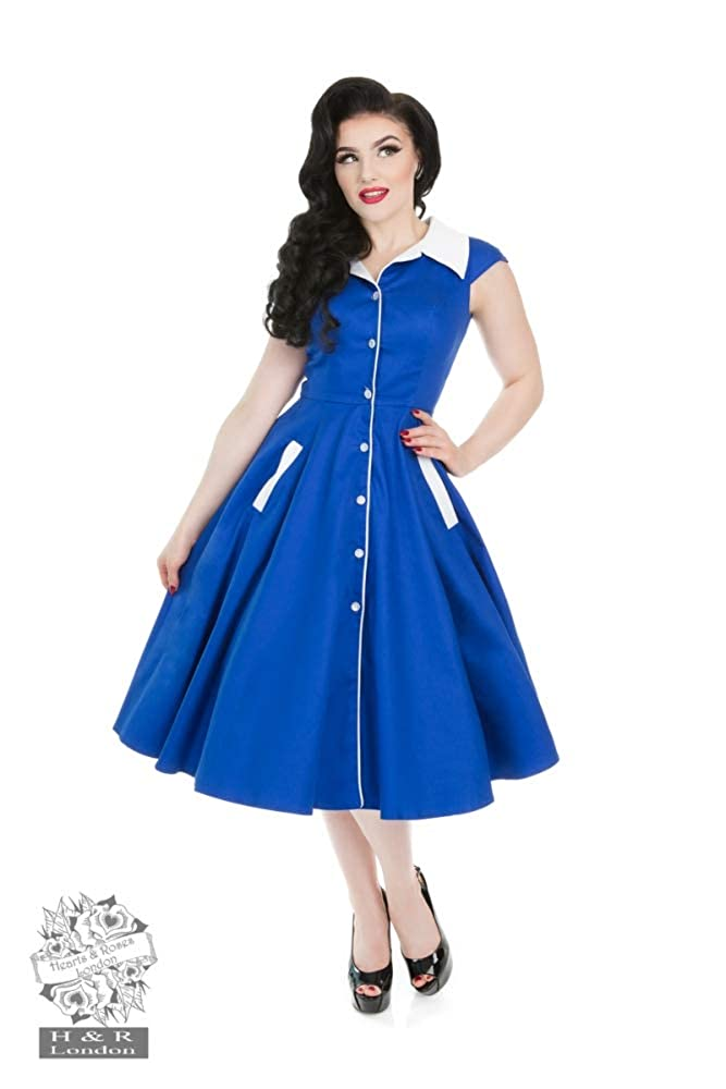 1950s Housewife Dress | 50s Day Dresses Hearts & Roses Meadow Blue White Swing Dress £53.19 AT vintagedancer.com