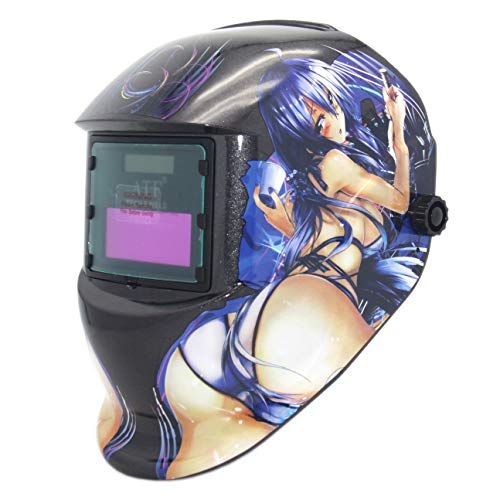 ATF Solar Powered Welding Helmet Auto Darkening Hood with Fixed Shade, Professional Welder Mask for ARC TIG MIG, 1pcs Replacement Lens Included. (Sexy Girl)