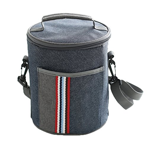 Insulated Lunch Bag Cooler Tote Bags For Women Men Kids, Travel Picnic Foods Box Drinks Thermal Carry Bag Container Organizer Case Handbag (Cylinder-Blue&Grey, 8x9inch) - Cylinder Tote Purse